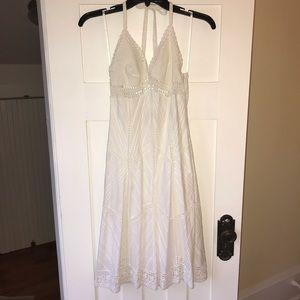 BCBG crochet and cotton lined white halter dress